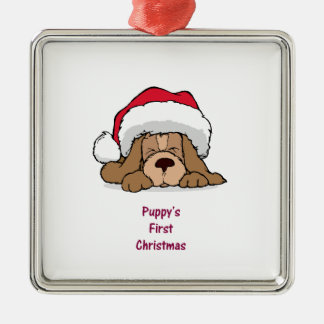 El primer navidad del perrito adorno navideño cuadrado de metal