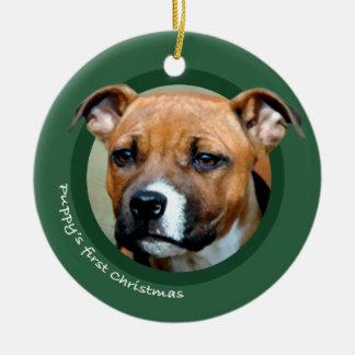 El primer navidad del perrito americano Staffords Ornamento Para Reyes Magos