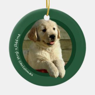 El primer navidad del perrito (golden retriever) adornos de navidad
