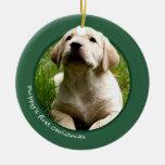 El primer navidad del perrito (labrador retriever) ornato