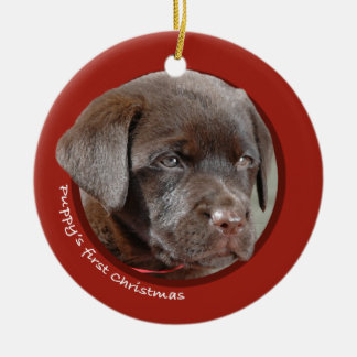 El primer navidad del perrito labrador retriever adorno de reyes