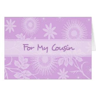 El primo de las flores de la púrpura le agradece tarjeta de felicitación