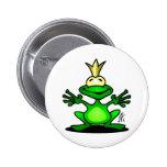 El príncipe de la rana pin redondo de 2 pulgadas