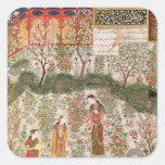 El príncipe persa Humay Meeting el chino Pegatina Cuadrada