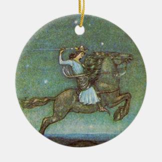 El príncipe Rides en claro de luna de Juan Bauer Adorno Navideño Redondo De Cerámica