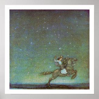 El príncipe Rides en claro de luna de Juan Bauer Póster