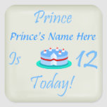 El príncipe (su nombre) es doce hoy pegatina cuadrada