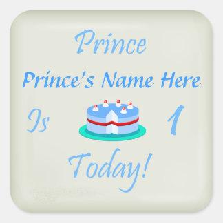 El príncipe (su nombre) es uno hoy calcomania cuadrada personalizada