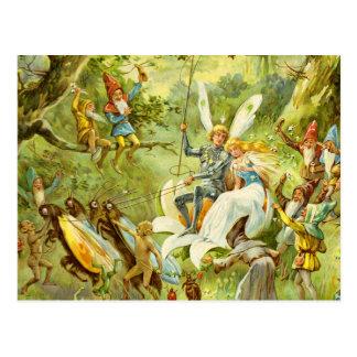 El príncipe y el Thumbelina de hadas Tarjetas Postales