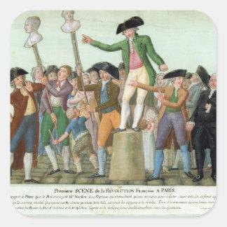 El principio de la Revolución Francesa Pegatina Cuadrada