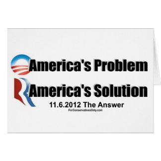 El Problema-Romney's de Obama la solución Tarjeta De Felicitación