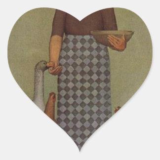 El producto de Iowa de Grant Wood Pegatina En Forma De Corazón