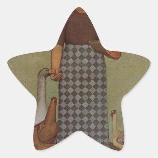 El producto de Iowa de Grant Wood Pegatina En Forma De Estrella