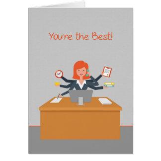 El profesional administrativo le agradece, tarjeta de felicitación