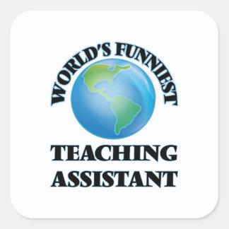 El profesor ayudante más divertido del mundo pegatina cuadrada