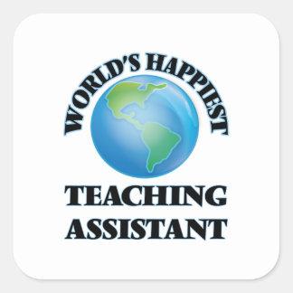 El profesor ayudante más feliz del mundo pegatina cuadrada