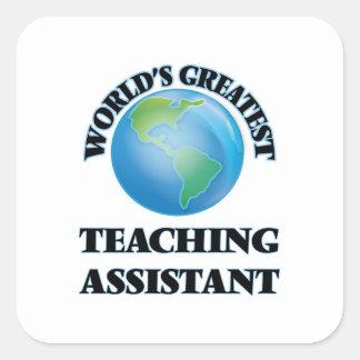 El profesor ayudante más grande del mundo pegatina cuadrada