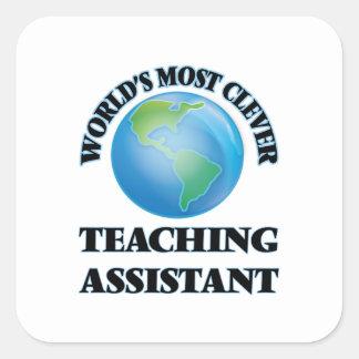 El profesor ayudante más listo del mundo pegatina cuadrada