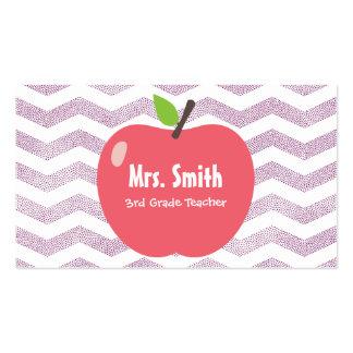 El profesor de escuela Chevron femenino raya Apple Tarjetas De Visita