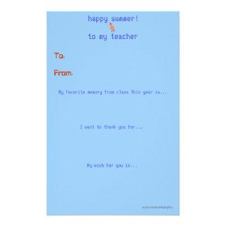 El profesor de finales de ano le agradece observar papeleria de diseño