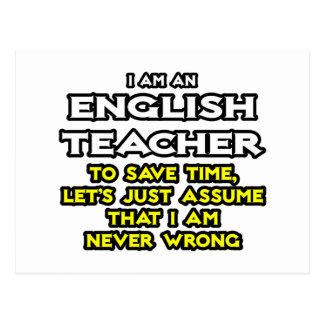 El profesor de inglés… asume que nunca soy tarjeta postal