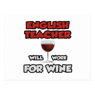 El profesor de inglés… trabajará para el vino tarjeta postal
