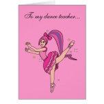 El profesor de la danza le agradece tarjetón