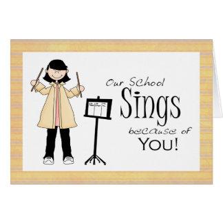El profesor de música le agradece cardar tarjeta de felicitación