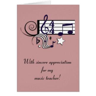 El profesor de música le agradece tarjeta de felicitación