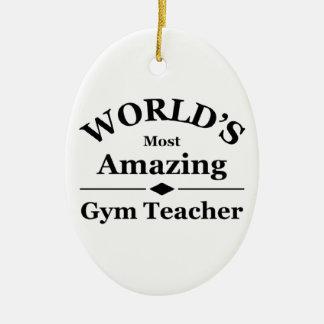 El profesor del gimnasio más asombroso del mundo adorno navideño ovalado de cerámica