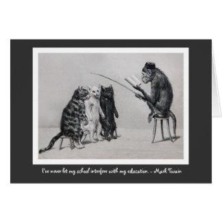 El profesor del mono tarjeta de felicitación