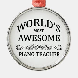 El profesor del piano más impresionante del mundo adorno navideño redondo de metal
