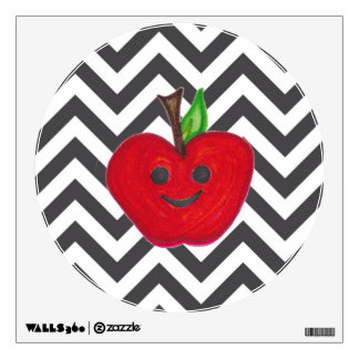 "El ""profesor feliz"" Apple rojo de las manzanas Vinilo Adhesivo"