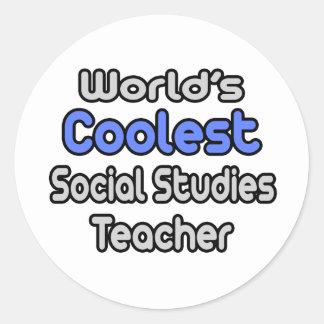 El profesor más fresco de los estudios sociales pegatina redonda