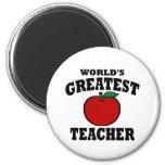 El profesor más grande del mundo (manzana) imán de frigorífico