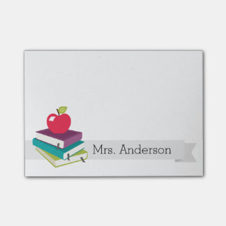 El profesor personalizado reserva notas de post-it