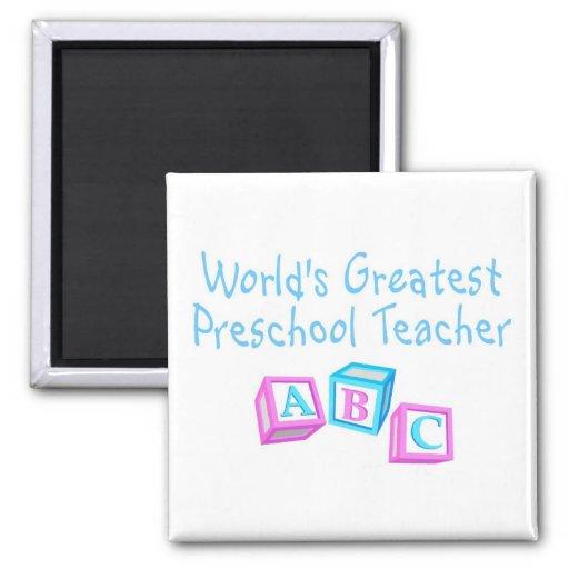 El profesor preescolar más grande de los mundos imán cuadrado