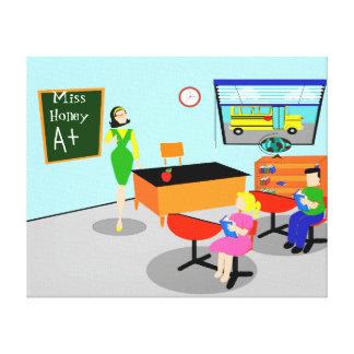 El profesor retro estiró la impresión de la lona