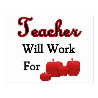 El profesor trabajará para las manzanas tarjeta postal