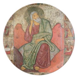 El profeta Elías, escuela de Pskov (el panel) Platos
