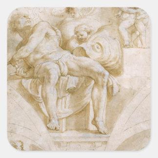 El profeta Jonah y dos lunetas destruidas Pegatinas Cuadradases