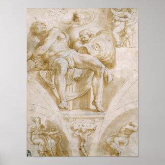 El profeta Jonah y dos lunetas destruidas Póster