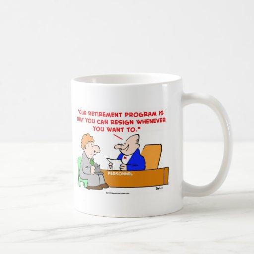 el programa de retiro dimite tazas de café