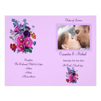 El programa del boda de la colección de los Hollyh Tarjeta Publicitaria