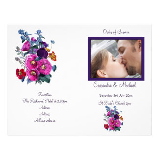 El programa del boda de la colección de los Hollyh Tarjetón