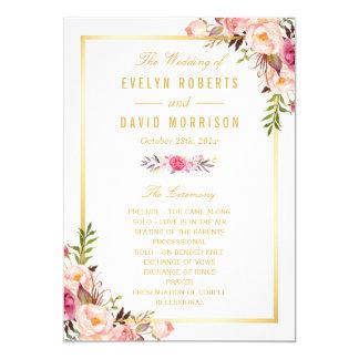 """El programa floral elegante elegante del boda de invitación 5"""" x 7"""""""