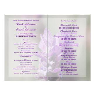 """El programa púrpura del boda de la lavanda PERSONA Folleto 8.5"""" X 11"""""""