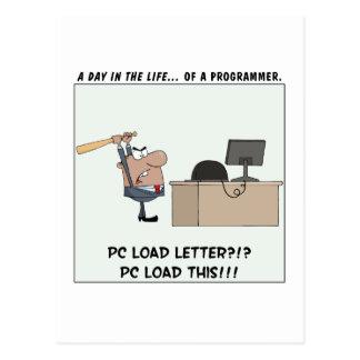 El programador enojado golpea el ordenador tarjetas postales