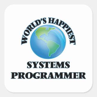 El programador más feliz del mundo pegatina cuadrada