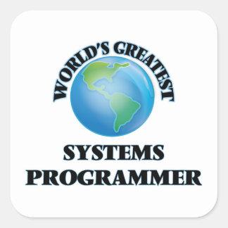 El programador más grande del mundo pegatina cuadrada